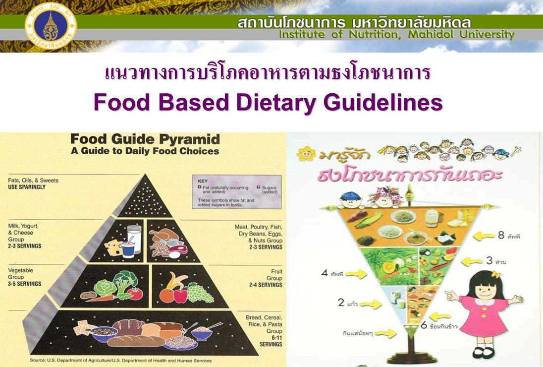 แนวทางการบริโภคอาหารตามธงโภชนาการ Food Based Dietary Guidelines