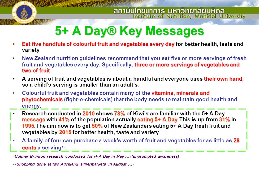 5+ A Day® Key Messages Eat five handfuls of colourful fruit and vegetables every dayEat five handfuls of colourful fruit and vegetables every day for