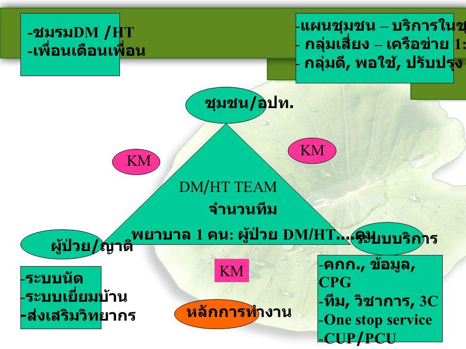 - ชมรม DM /HT - เพื่อนเตือนเพื่อน ชุมชน / อปท. - แผนชุมชน – บริการในชุมชน - กลุ่มเสี่ยง – เครือข่าย 1:5- 1: 10 - กลุ่มดี, พอใช้, ปรับปรุง DM/HT TEAM จ