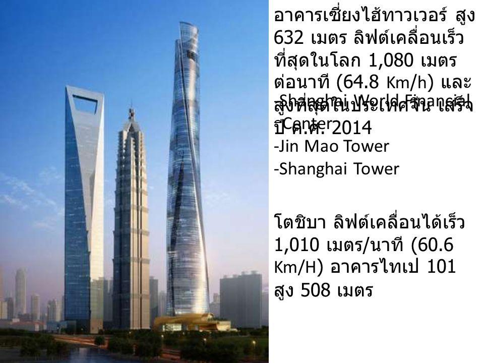 อาคารเซี่ยงไฮ้ทาวเวอร์ สูง 632 เมตร ลิฟต์เคลื่อนเร็ว ที่สุดในโลก 1,080 เมตร ต่อนาที (64.8 Km/h) และ สูงที่สุดในประเทศจีน เสร็จ ปี ค. ศ. 2014 -Shanghai