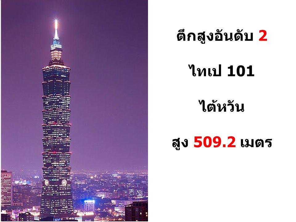 ตึกสูงอันดับ 2 ไทเป 101 ไต้หวัน สูง 509.2 เมตร