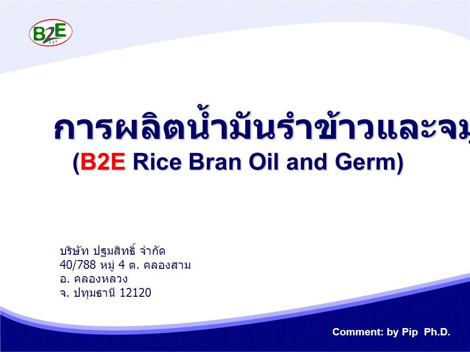การผลิตน้ำมันรำข้าวและจมูกข้าว (B2E Rice Bran Oil and Germ) บริษัท ปฐมสิทธิ์ จำกัด 40/788 หมู่ 4 ต. คลองสาม อ. คลองหลวง จ. ปทุมธานี 12120 Comment: by