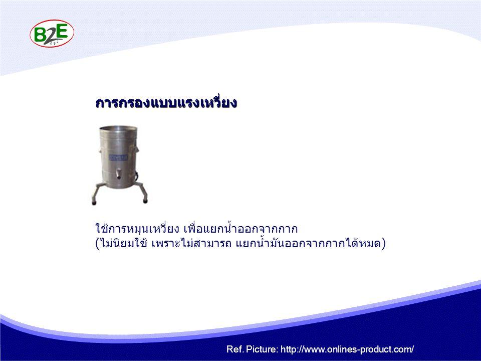 การกรองแบบแรงเหวี่ยง ใช้การหมุนเหวี่ยง เพื่อแยกน้ำออกจากกาก (ไม่นิยมใช้ เพราะไม่สามารถ แยกน้ำมันออกจากกากได้หมด) Ref. Picture: http://www.onlines-prod