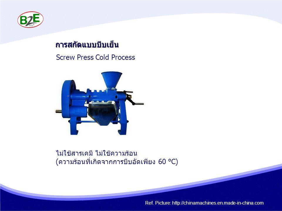 การสกัดแบบบีบเย็น ไม่ใช้สารเคมี ไม่ใช้ความร้อน (ความร้อนที่เกิดจากการบีบอัดเพียง 60 ° C) Screw Press Cold Process Ref. Picture: http://chinamachines.e