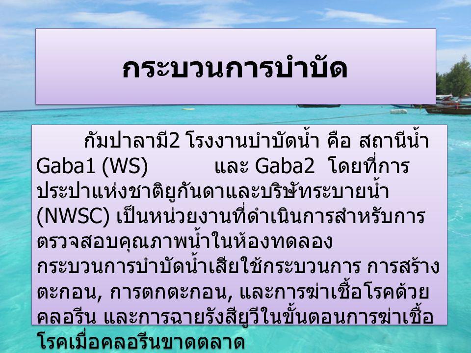 กระบวนการบำบัด กัมปาลามี 2 โรงงานบำบัดน้ำ คือ สถานีน้ำ Gaba1 (WS) และ Gaba2 โดยที่การ ประปาแห่งชาติยูกันดาและบริษัทระบายน้ำ (NWSC) เป็นหน่วยงานที่ดำเนินการสำหรับการ ตรวจสอบคุณภาพน้ำในห้องทดลอง กระบวนการบำบัดน้ำเสียใช้กระบวนการ การสร้าง ตะกอน, การตกตะกอน, และการฆ่าเชื้อโรคด้วย คลอรีน และการฉายรังสียูวีในขั้นตอนการฆ่าเชื้อ โรคเมื่อคลอรีนขาดตลาด