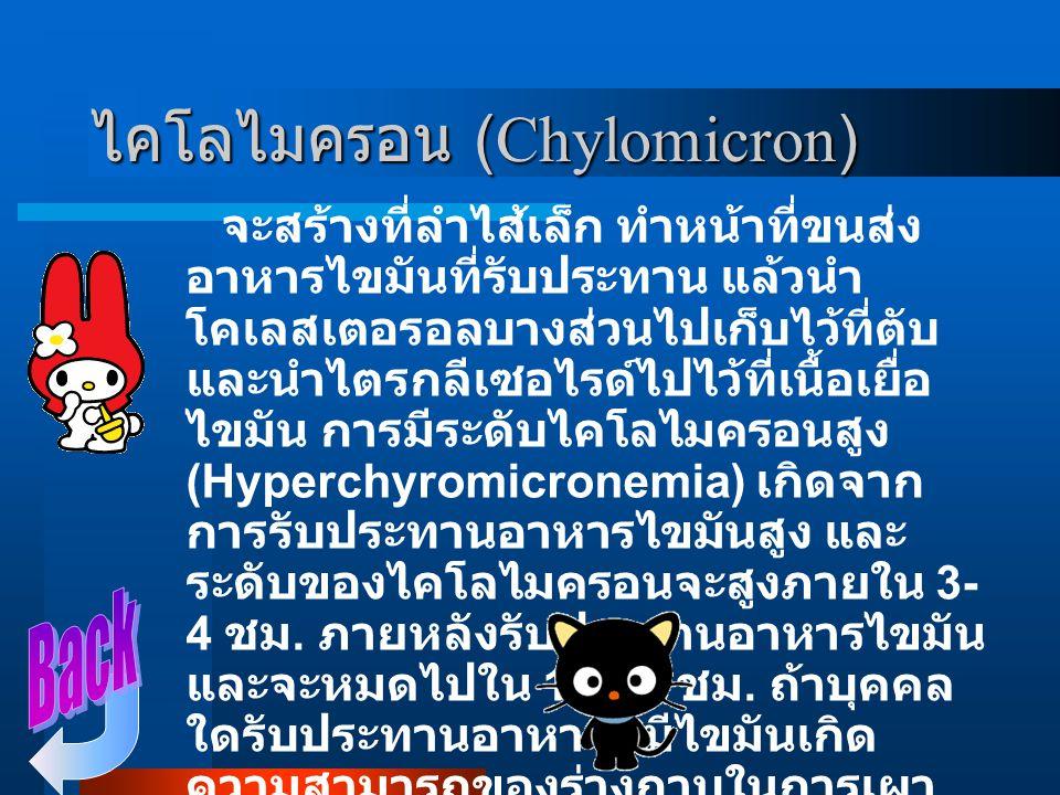 ไลโปโปรตีน ในเลือด แบ่ง ออกเป็น 5 ชนิดดังนี้ ไคโลไมครอน (Chylomicron) ไลโปโปรตีนที่มีความหนาแน่นต่ำมาก (Very love density lipoprotein : VLDL ) ไลโปโปร