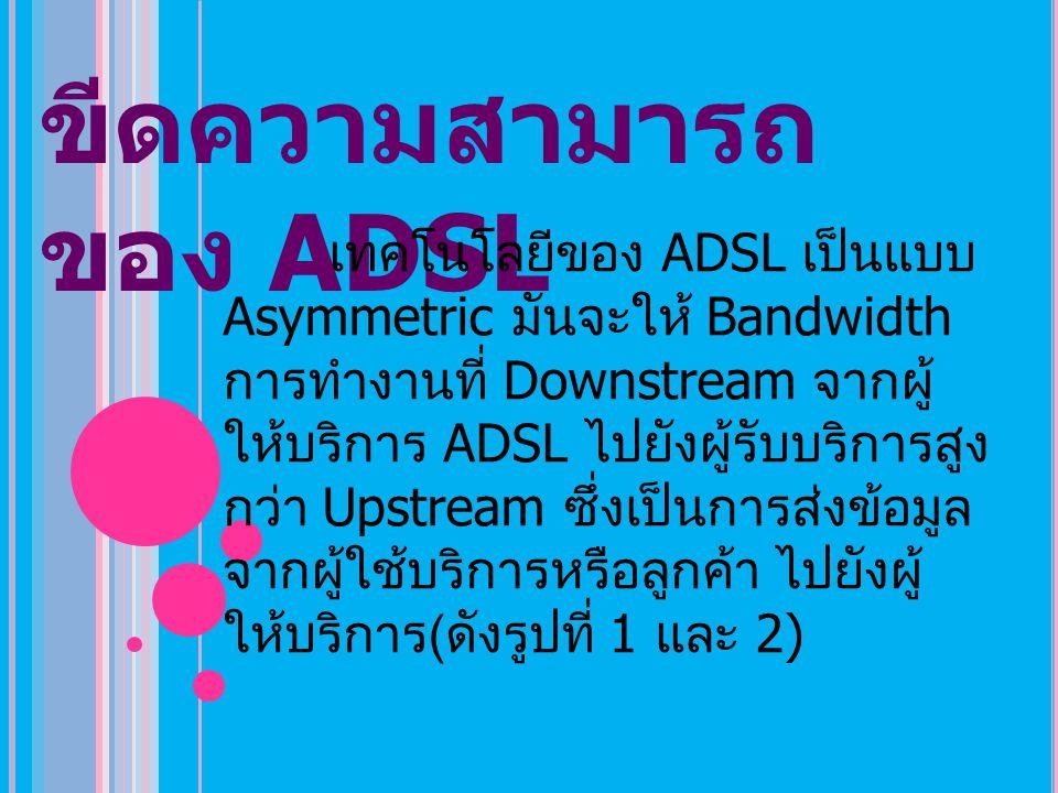 ขีดความสามารถ ของ ADSL เทคโนโลยีของ ADSL เป็นแบบ Asymmetric มันจะให้ Bandwidth การทำงานที่ Downstream จากผู้ ให้บริการ ADSL ไปยังผู้รับบริการสูง กว่า