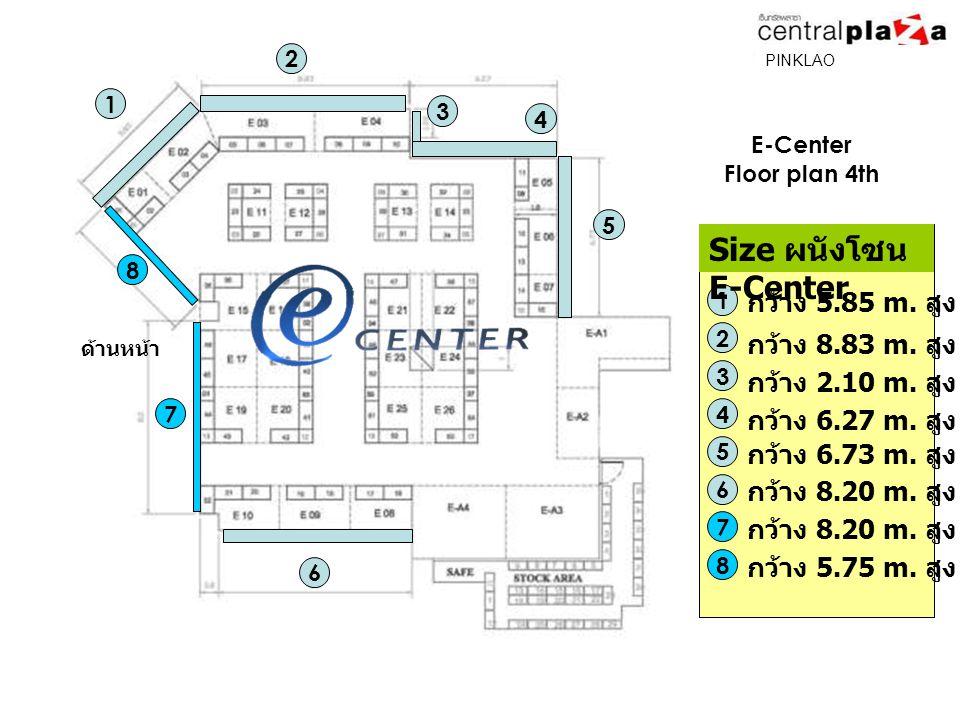 E-Center Floor plan 4th 1 2 4 5 6 7 8 ด้านหน้า 1 กว้าง 5.85 m.