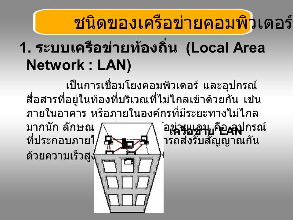 1. ระบบเครือข่ายท้องถิ่น (Local Area Network : LAN) เป็นการเชื่อมโยงคอมพิวเตอร์ และอุปกรณ์ สื่อสารที่อยู่ในท้องที่บริเวณที่ไม่ไกลเข้าด้วยกัน เช่น ภายใ