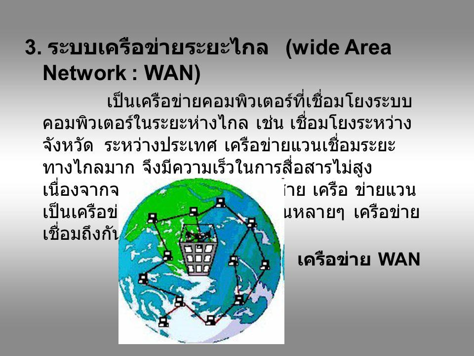 3. ระบบเครือข่ายระยะไกล (wide Area Network : WAN) เป็นเครือข่ายคอมพิวเตอร์ที่เชื่อมโยงระบบ คอมพิวเตอร์ในระยะห่างไกล เช่น เชื่อมโยงระหว่าง จังหวัด ระหว
