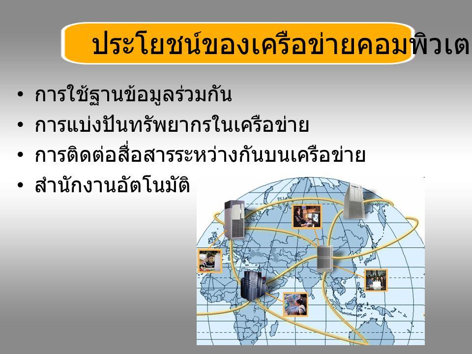 การใช้ฐานข้อมูลร่วมกัน การแบ่งปันทรัพยากรในเครือข่าย การติดต่อสื่อสารระหว่างกันบนเครือข่าย สำนักงานอัตโนมัติ ประโยชน์ของเครือข่ายคอมพิวเตอร์