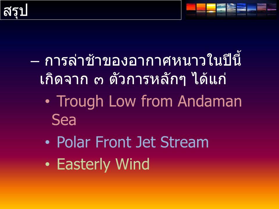 สรุป – การล่าช้าของอากาศหนาวในปีนี้ เกิดจาก ๓ ตัวการหลักๆ ได้แก่ Trough Low from Andaman Sea Polar Front Jet Stream Easterly Wind