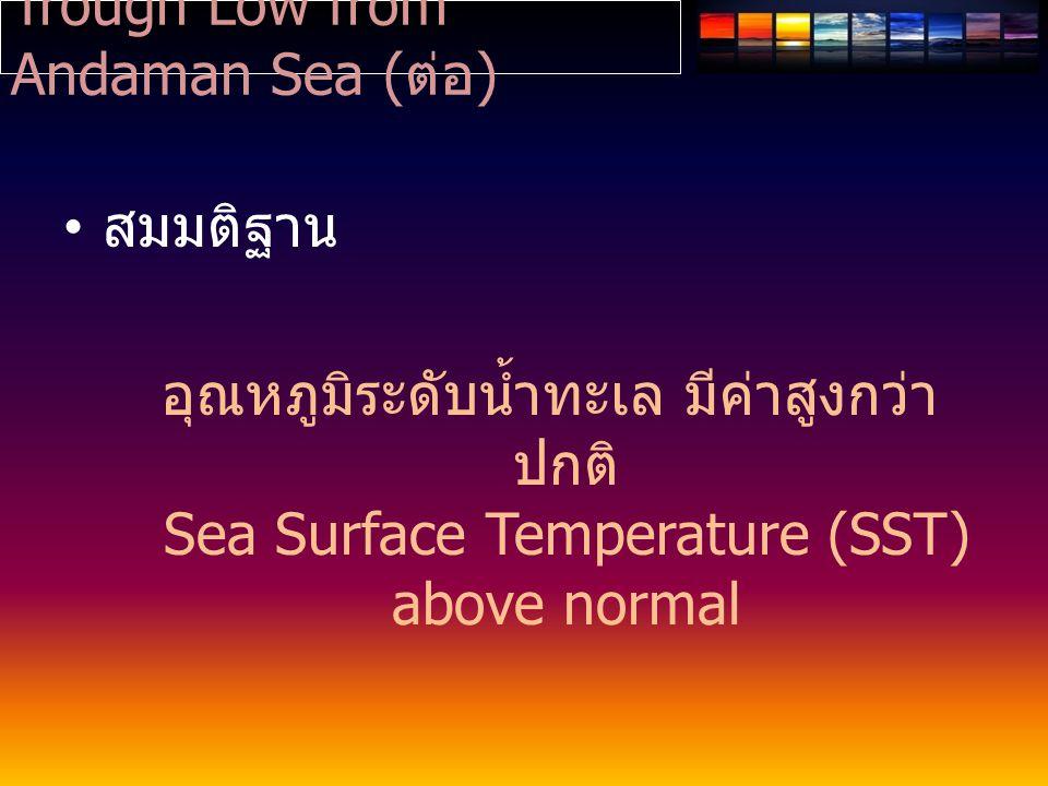 Trough Low from Andaman Sea ( ต่อ ) สมมติฐาน อุณหภูมิระดับน้ำทะเล มีค่าสูงกว่า ปกติ Sea Surface Temperature (SST) above normal