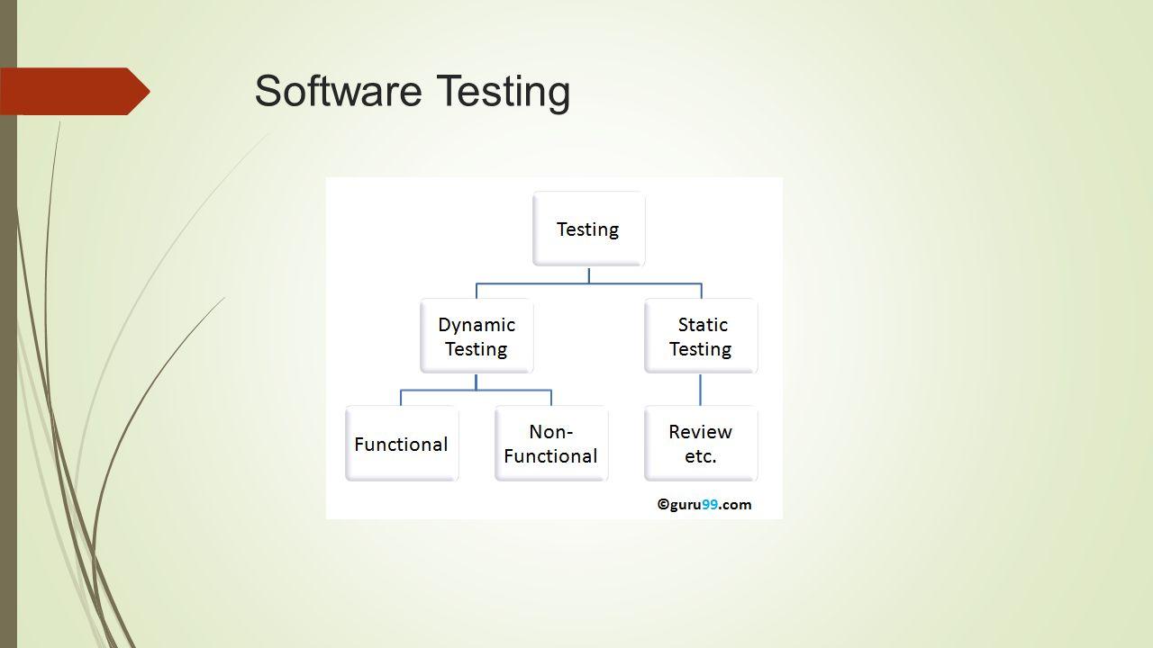 Static TestingDynamic Testing การทดสอบสมบูรณ์โดยไม่ต้องรันโปรแกรมการทดสอบสมบูรณ์ต้องรันโปรแกรม ใช้การทวนสอบ (verification) ใช้การตรวจสอบ (validation) ป้องกันการเกิดข้อผิดพลาดแก้ข้อผิดพลาด การประเมินเอกสารการหาบั๊คและปัญหาคอขวดในระบบ สร้างเช็คลิสต์ของกระบวนการที่ต้องมีในระบบสร้าง test cases