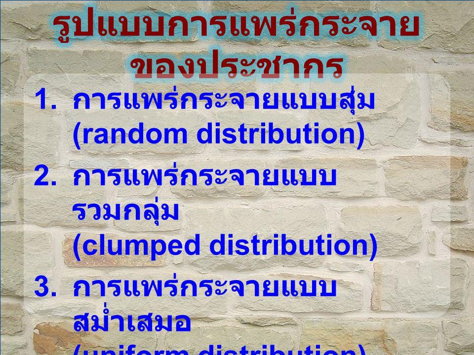 1. การแพร่กระจายแบบสุ่ม (random distribution) 2. การแพร่กระจายแบบ รวมกลุ่ม (clumped distribution) 3. การแพร่กระจายแบบ สม่ำเสมอ (uniform distribution)