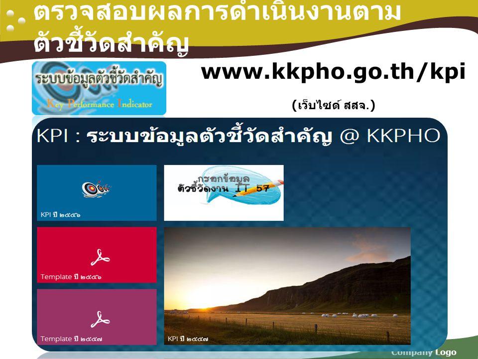 Company Logo ตรวจสอบผลการดำเนินงานตาม ตัวชี้วัดสำคัญ www.kkpho.go.th/kpi ( เว็บไซด์ สสจ.)