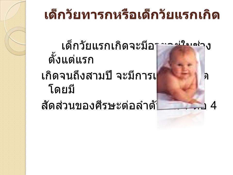 เด็กวัยทารกหรือเด็กวัยแรกเกิด เด็กวัยแรกเกิดจะมีอายุอยู่ในช่วง ตั้งแต่แรก เกิดจนถึงสามปี จะมีการเจริญเติบโต โดยมี สัดส่วนของศีรษะต่อลำตัวเป็น 1 ต่อ 4