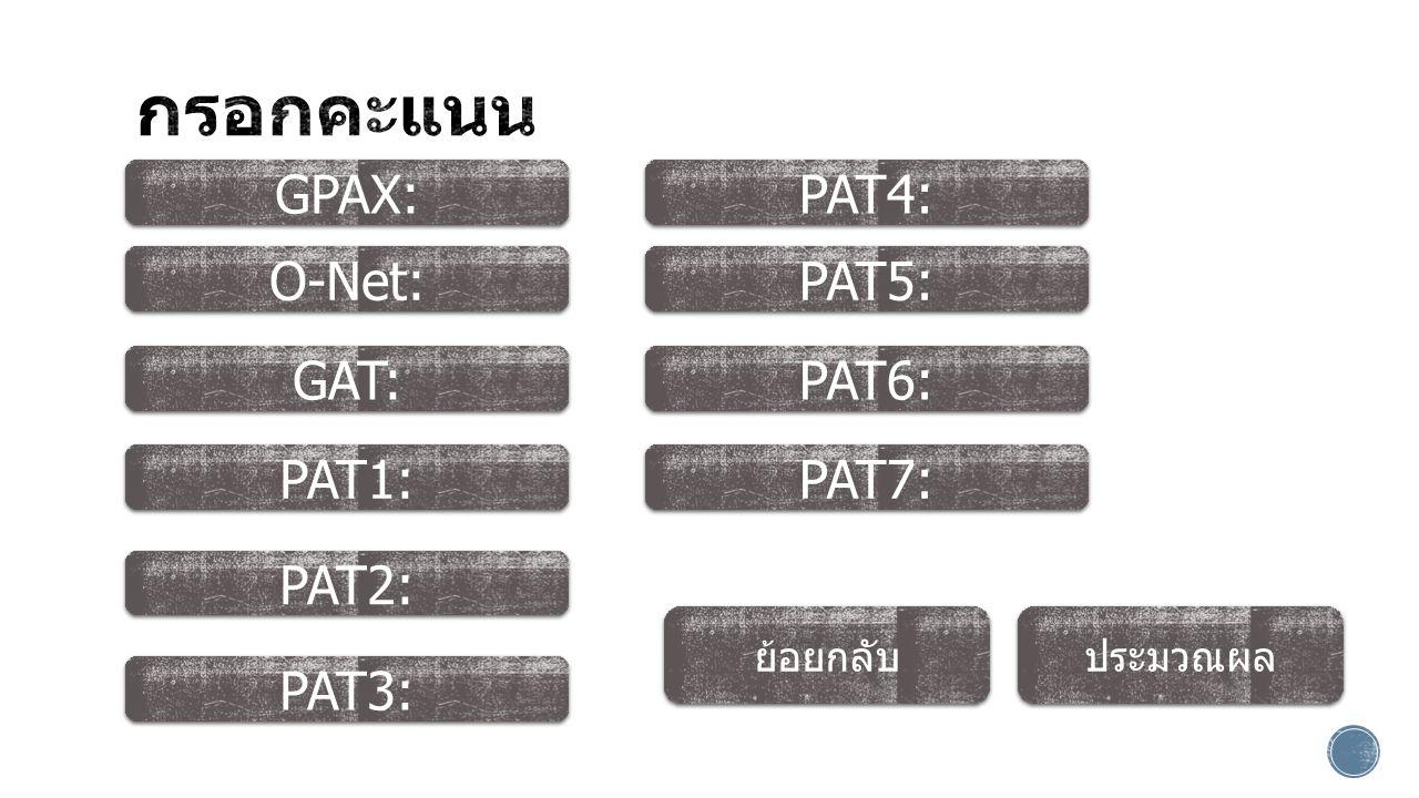ประมวณผล GPAX: PAT3: PAT6: O-Net: PAT5: PAT2: GAT: PAT1: PAT4: PAT7: ย้อยกลับ
