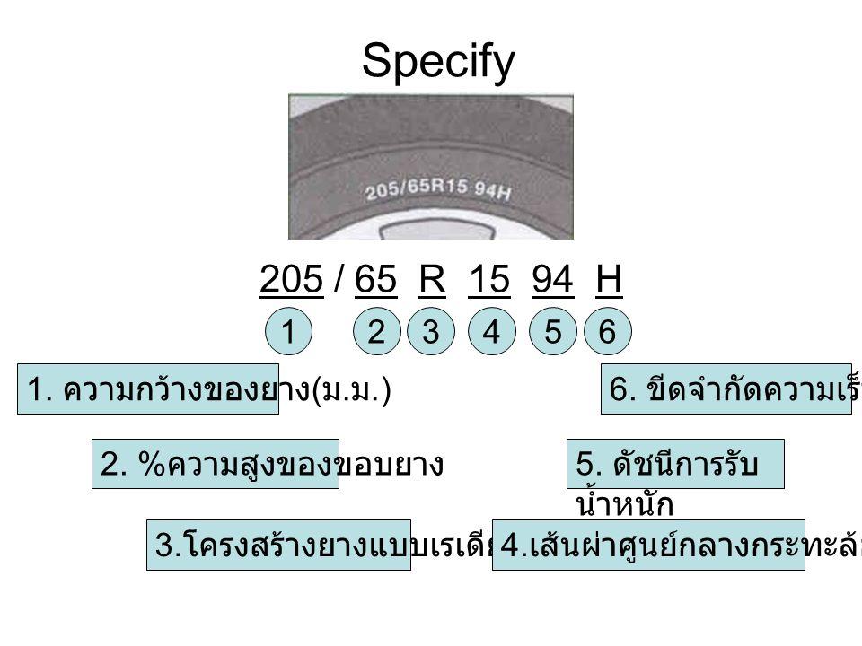 Specify 205 / 65 R 15 94 H 123456 3. โครงสร้างยางแบบเรเดียล 4. เส้นผ่าศูนย์กลางกระทะล้อ ( นิ้ว ) 1. ความกว้างของยาง ( ม. ม.) 2. % ความสูงของขอบยาง 5.