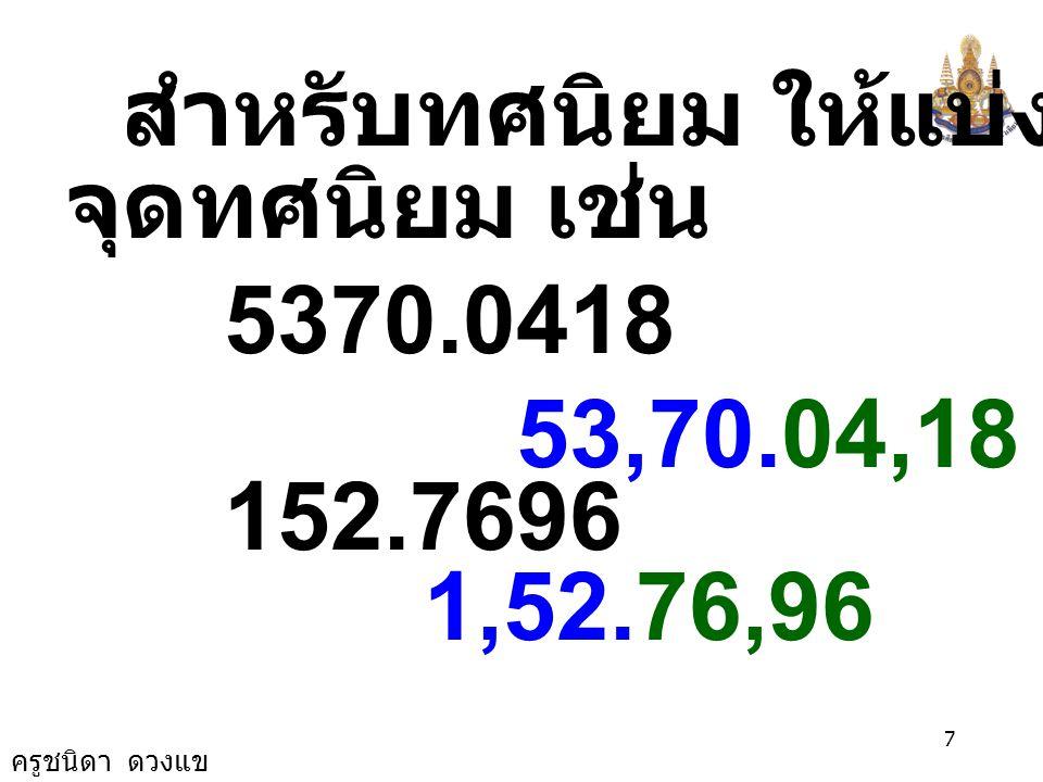 ครูชนิดา ดวงแข 6 หารากที่สองของจำนวนเต็ม 961 9,61 2304 23,04 27889 2,78,89