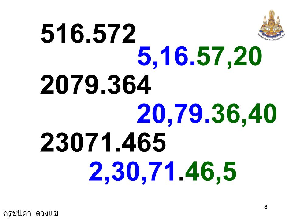 ครูชนิดา ดวงแข 7 สำหรับทศนิยม ให้แบ่งออกจาก จุดทศนิยม เช่น 5370.0418 53,70.04,18 152.7696 1,52.76,96