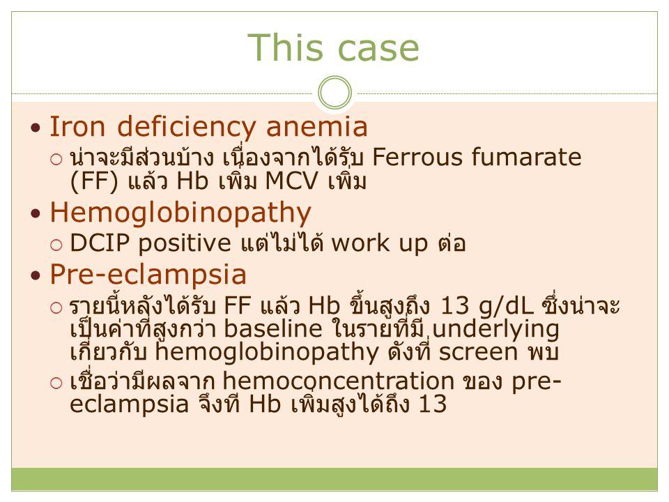 This case Iron deficiency anemia  น่าจะมีส่วนบ้าง เนื่องจากได้รับ Ferrous fumarate (FF) แล้ว Hb เพิ่ม MCV เพิ่ม Hemoglobinopathy  DCIP positive แต่ไม่ได้ work up ต่อ Pre-eclampsia  รายนี้หลังได้รับ FF แล้ว Hb ขึ้นสูงถึง 13 g/dL ซึ่งน่าจะ เป็นค่าที่สูงกว่า baseline ในรายที่มี underlying เกี่ยวกับ hemoglobinopathy ดังที่ screen พบ  เชื่อว่ามีผลจาก hemoconcentration ของ pre- eclampsia จึงที Hb เพิ่มสูงได้ถึง 13