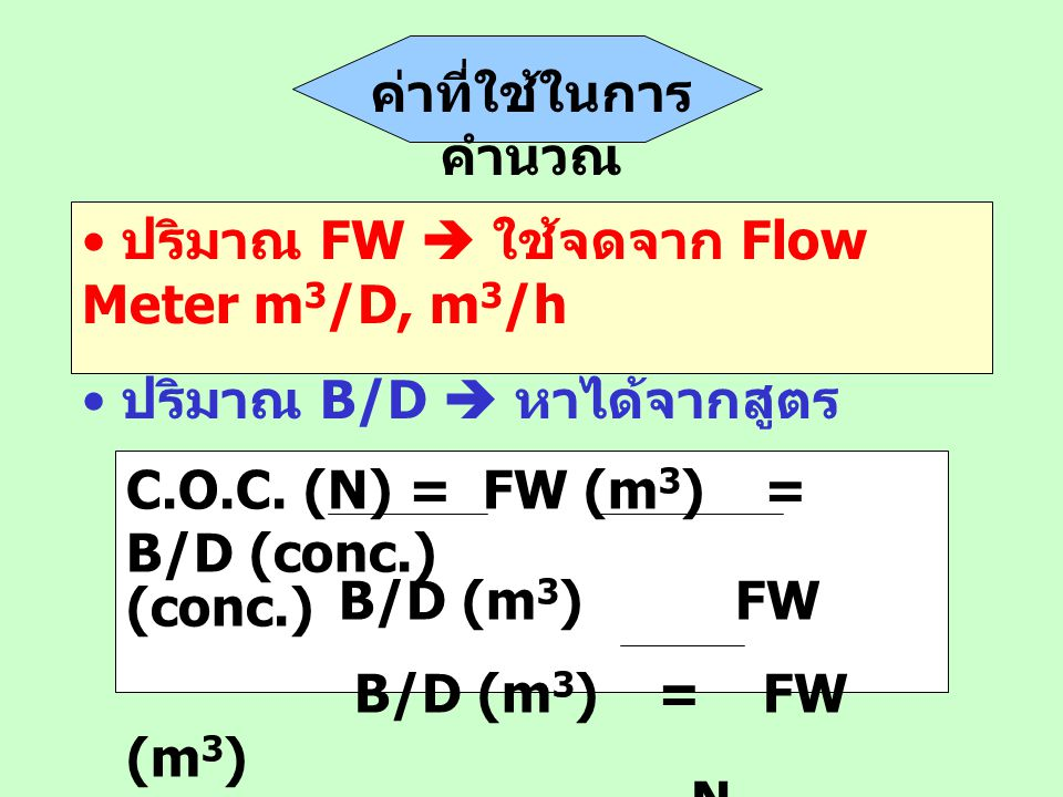 ค่าที่ใช้ในการ คำนวณ ปริมาณ FW  ใช้จดจาก Flow Meter m 3 /D, m 3 /h ปริมาณ B/D  หาได้จากสูตร C.O.C. (N) = FW (m 3 )= B/D (conc.) B/D (m 3 ) FW (conc.