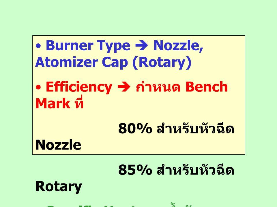 Burner Type  Nozzle, Atomizer Cap (Rotary) Efficiency  กำหนด Bench Mark ที่ 80% สำหรับหัวฉีด Nozzle 85% สำหรับหัวฉีด Rotary Specific Heat ของน้ำมันเ