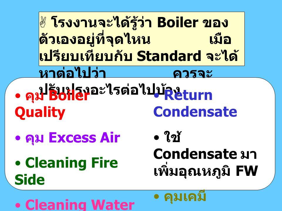  โรงงานจะได้รู้ว่า Boiler ของ ตัวเองอยู่ที่จุดไหน เมือ เปรียบเทียบกับ Standard จะได้ หาต่อไปว่า ควรจะ ปรับปรุงอะไรต่อไปบ้าง คุม Boiler Quality คุม Ex