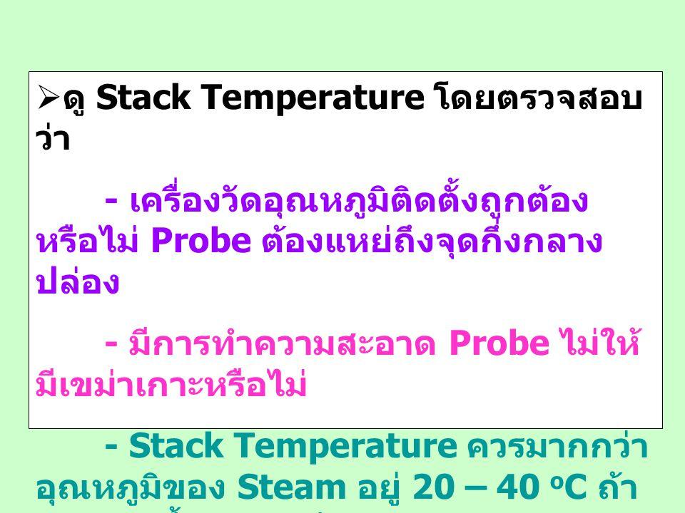  ดู Stack Temperature โดยตรวจสอบ ว่า - เครื่องวัดอุณหภูมิติดตั้งถูกต้อง หรือไม่ Probe ต้องแหย่ถึงจุดกึ่งกลาง ปล่อง - มีการทำความสะอาด Probe ไม่ให้ มี