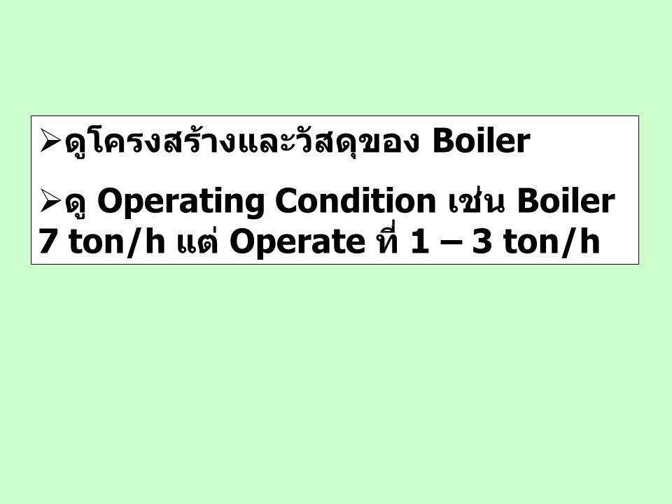  ดูโครงสร้างและวัสดุของ Boiler  ดู Operating Condition เช่น Boiler 7 ton/h แต่ Operate ที่ 1 – 3 ton/h
