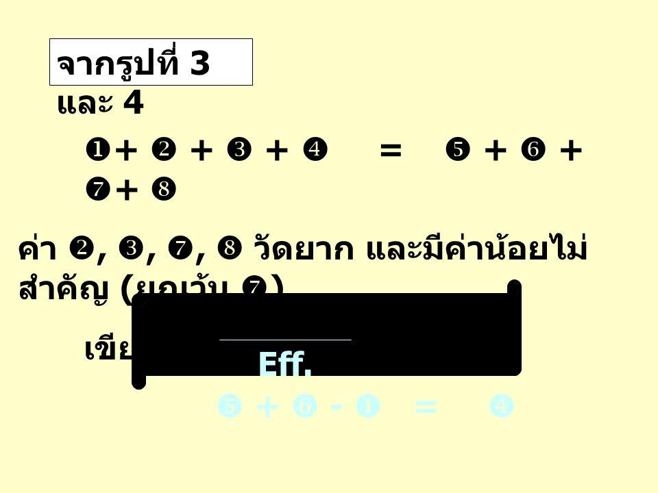 จากรูปที่ 3 และ 4  +  +  +  =  +  +  +  ค่า , , ,  วัดยาก และมีค่าน้อยไม่ สำคัญ ( ยกเว้น  ) เขียนใหม่เป็น  +  -  =  Eff.