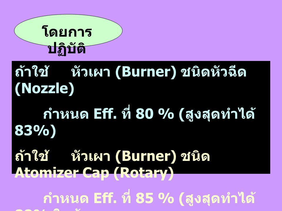 โดยการ ปฏิบัติ ถ้าใช้หัวเผา (Burner) ชนิดหัวฉีด (Nozzle) กำหนด Eff. ที่ 80 % ( สูงสุดทำได้ 83%) ถ้าใช้หัวเผา (Burner) ชนิด Atomizer Cap (Rotary) กำหนด