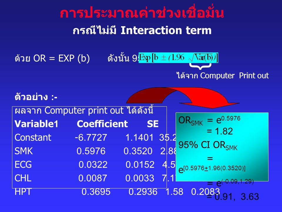 การประมาณค่าช่วงเชื่อมั่น กรณีไม่มี Interaction term ด้วย OR = EXP (b) ดังนั้น 95% CI OR = ตัวอย่าง :- ผลจาก Computer print out ได้ดังนี้ Variable1 Co