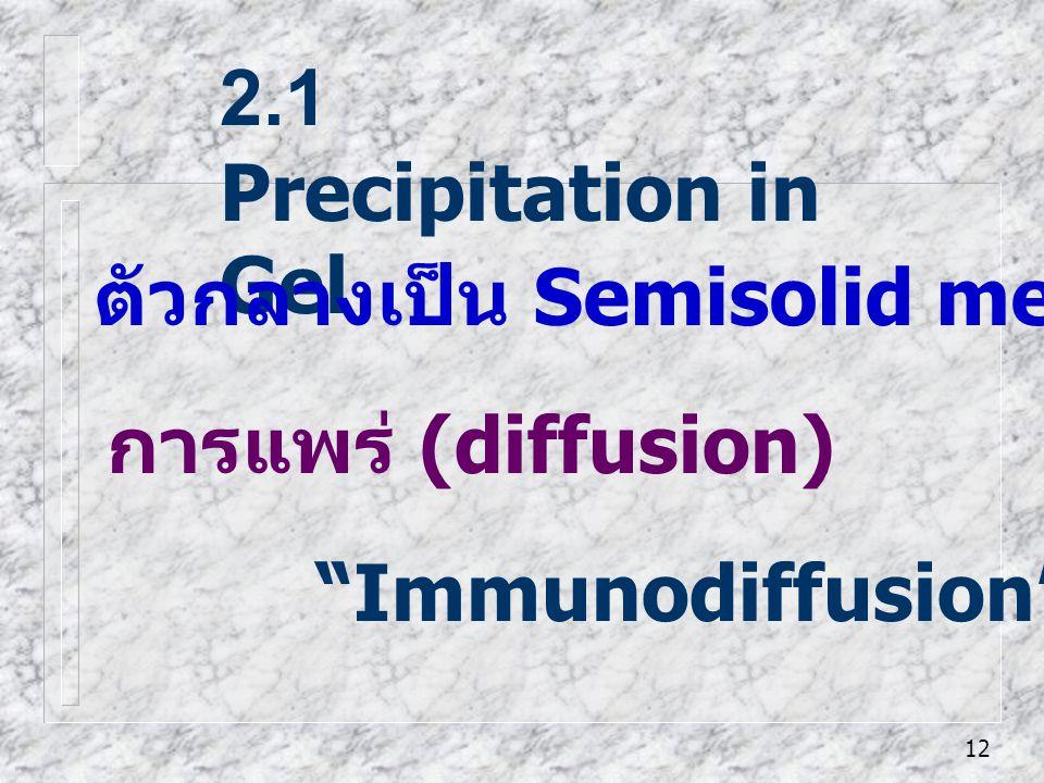 "12 2.1 Precipitation in Gel ""Immunodiffusion"" ตัวกลางเป็น Semisolid media - เช่นวุ้น (gel) การแพร่ (diffusion)"