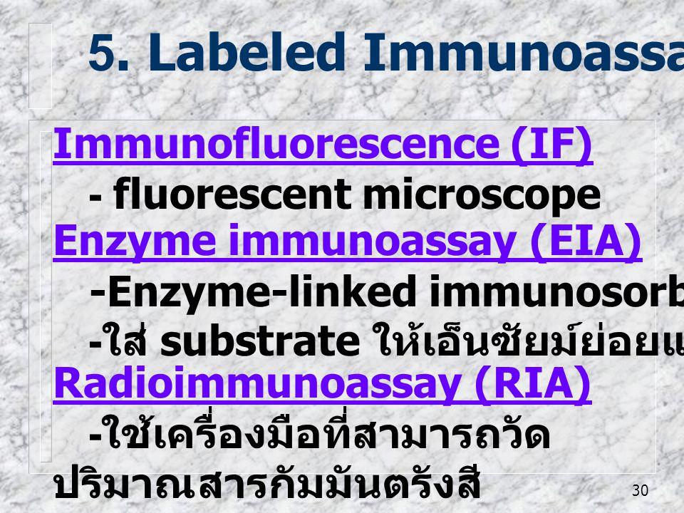 30 Radioimmunoassay (RIA) - ใช้เครื่องมือที่สามารถวัด ปริมาณสารกัมมันตรังสี 5. Labeled Immunoassay Immunofluorescence (IF) - fluorescent microscope En