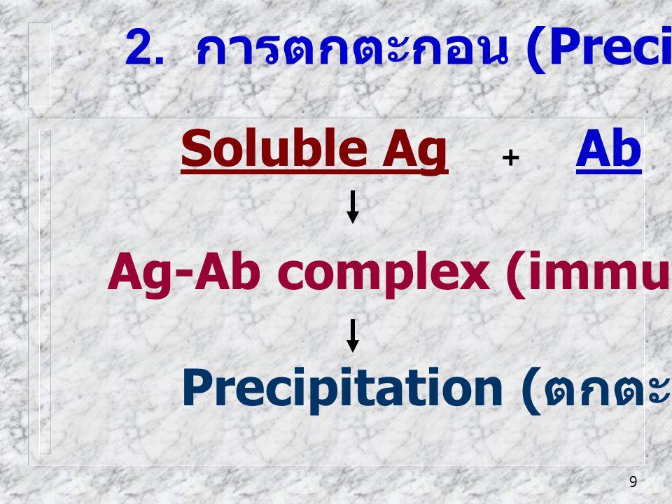 9 2. การตกตะกอน (Precipitation) Soluble Ag + Ab Precipitation ( ตกตะกอน ) Ag-Ab complex (immune complex)