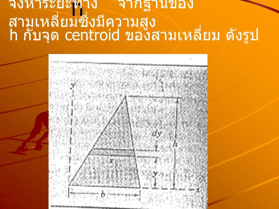 จงหาระยะทาง จากฐานของ สามเหลี่ยมซึ่งมีความสูง h กับจุด centroid ของสามเหลี่ยม ดังรูป