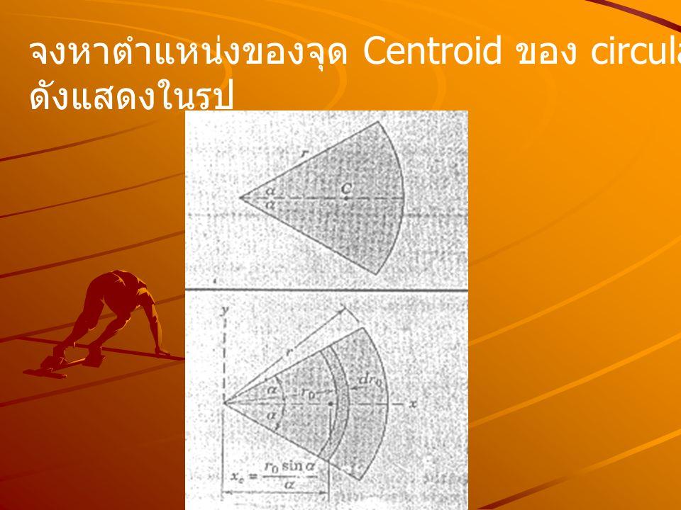 จงหาตำแหน่งของจุด Centroid ของ circular arc ดังแสดงในรูป