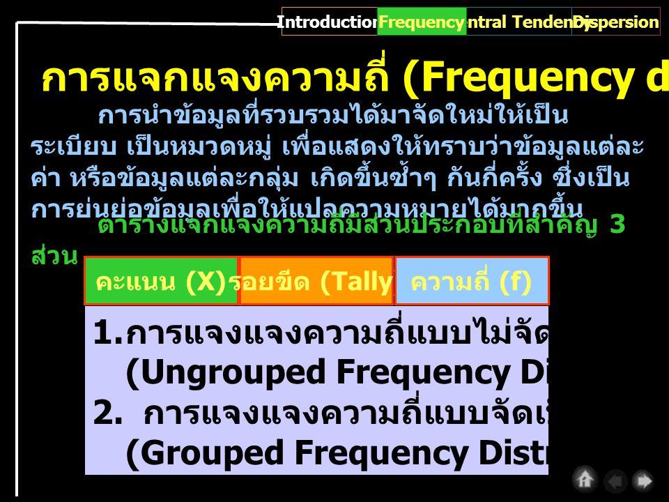 การแจกแจงความถี่ (Frequency distribution) การนำข้อมูลที่รวบรวมได้มาจัดใหม่ให้เป็น ระเบียบ เป็นหมวดหมู่ เพื่อแสดงให้ทราบว่าข้อมูลแต่ละ ค่า หรือข้อมูลแต่ละกลุ่ม เกิดขึ้นซ้ำๆ กันกี่ครั้ง ซึ่งเป็น การย่นย่อข้อมูลเพื่อให้แปลความหมายได้มากขึ้น ตารางแจกแจงความถี่มีส่วนประกอบที่สำคัญ 3 ส่วน คะแนน (X) รอยขีด (Tally) ความถี่ (f) 1.