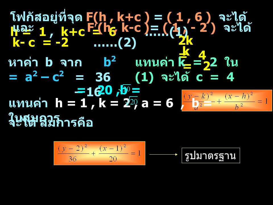 โฟกัสอยู่ที่จุด F(h, k+c ) = ( 1, 6 ) จะได้ h = 1, k+c = 6 ……(1) และ F(h, k-c )= ( 1, - 2 ) จะได้ k- c = -2 ……(2) 2k = 4 k = 2 แทนค่า k = 2 ใน (1) จะไ