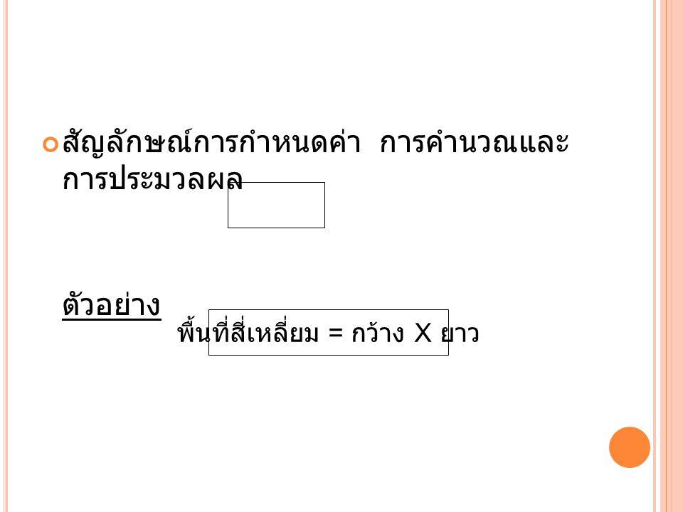 สัญลักษณ์การกำหนดค่า การคำนวณและ การประมวลผล ตัวอย่าง พื้นที่สี่เหลี่ยม = กว้าง X ยาว