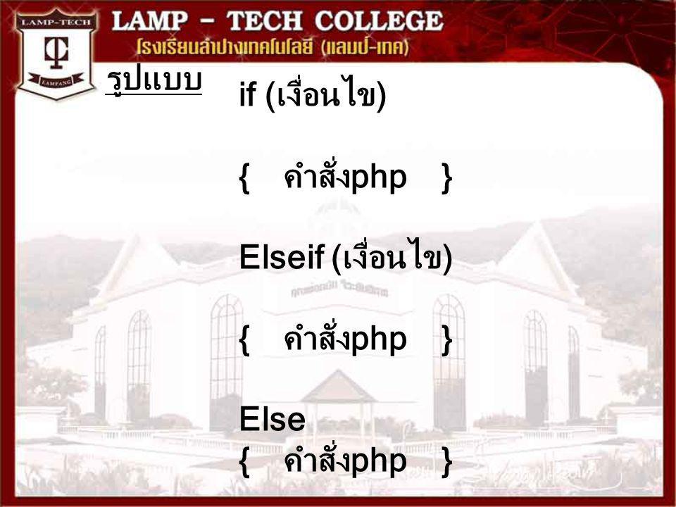 รูปแบบ if (เงื่อนไข) {คำสั่งphp} Elseif (เงื่อนไข) {คำสั่งphp} Else { คำสั่งphp}