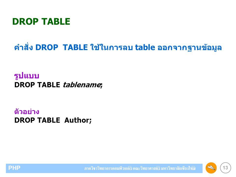 13 PHP ภาควิชาวิทยาการคอมพิวเตอร์ คณะวิทยาศาสตร์ มหาวิทยาลัยเชียงใหม่ DROP TABLE คำสั่ง DROP TABLE ใช้ในการลบ table ออกจากฐานข้อมูล รูปแบบ DROP TABLE tablename; ตัวอย่าง DROP TABLE Author;