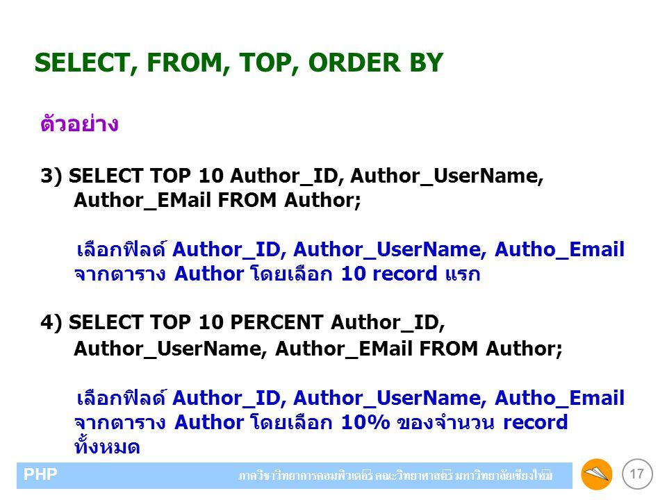 17 PHP ภาควิชาวิทยาการคอมพิวเตอร์ คณะวิทยาศาสตร์ มหาวิทยาลัยเชียงใหม่ SELECT, FROM, TOP, ORDER BY ตัวอย่าง 3) SELECT TOP 10 Author_ID, Author_UserName, Author_EMail FROM Author; เลือกฟิลด์ Author_ID, Author_UserName, Autho_Email จากตาราง Author โดยเลือก 10 record แรก 4) SELECT TOP 10 PERCENT Author_ID, Author_UserName, Author_EMail FROM Author; เลือกฟิลด์ Author_ID, Author_UserName, Autho_Email จากตาราง Author โดยเลือก 10% ของจำนวน record ทั้งหมด