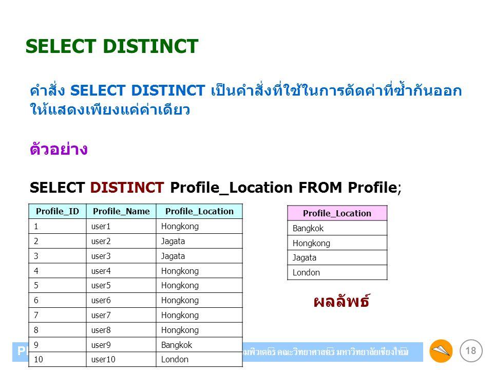 18 PHP ภาควิชาวิทยาการคอมพิวเตอร์ คณะวิทยาศาสตร์ มหาวิทยาลัยเชียงใหม่ SELECT DISTINCT คำสั่ง SELECT DISTINCT เป็นคำสั่งที่ใช้ในการตัดค่าที่ซ้ำกันออก ให้แสดงเพียงแค่ค่าเดียว ตัวอย่าง SELECT DISTINCT Profile_Location FROM Profile; Profile_IDProfile_NameProfile_Location 1user1Hongkong 2user2Jagata 3user3Jagata 4user4Hongkong 5user5Hongkong 6user6Hongkong 7user7Hongkong 8user8Hongkong 9user9Bangkok 10user10London Profile_Location Bangkok Hongkong Jagata London ผลลัพธ์