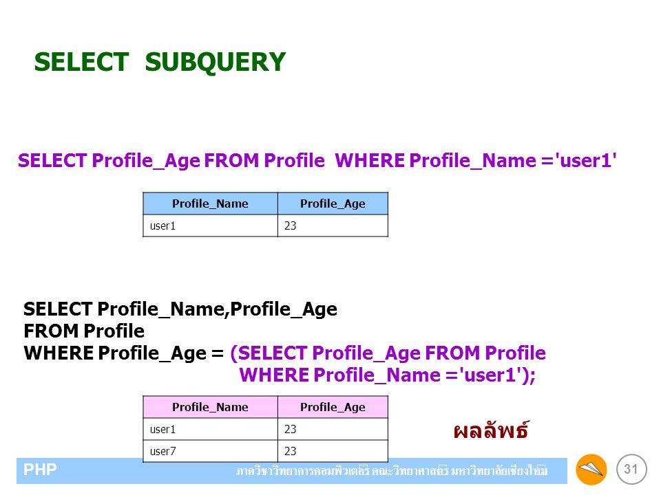 31 PHP ภาควิชาวิทยาการคอมพิวเตอร์ คณะวิทยาศาสตร์ มหาวิทยาลัยเชียงใหม่ SELECT SUBQUERY SELECT Profile_Age FROM Profile WHERE Profile_Name = user1 Profile_NameProfile_Age user123 Profile_NameProfile_Age user123 user723 SELECT Profile_Name,Profile_Age FROM Profile WHERE Profile_Age = (SELECT Profile_Age FROM Profile WHERE Profile_Name = user1 ); ผลลัพธ์
