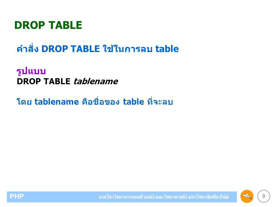 9 PHP ภาควิชาวิทยาการคอมพิวเตอร์ คณะวิทยาศาสตร์ มหาวิทยาลัยเชียงใหม่ DROP TABLE คำสั่ง DROP TABLE ใช้ในการลบ table รูปแบบ DROP TABLE tablename โดย tablename คือชื่อของ table ที่จะลบ