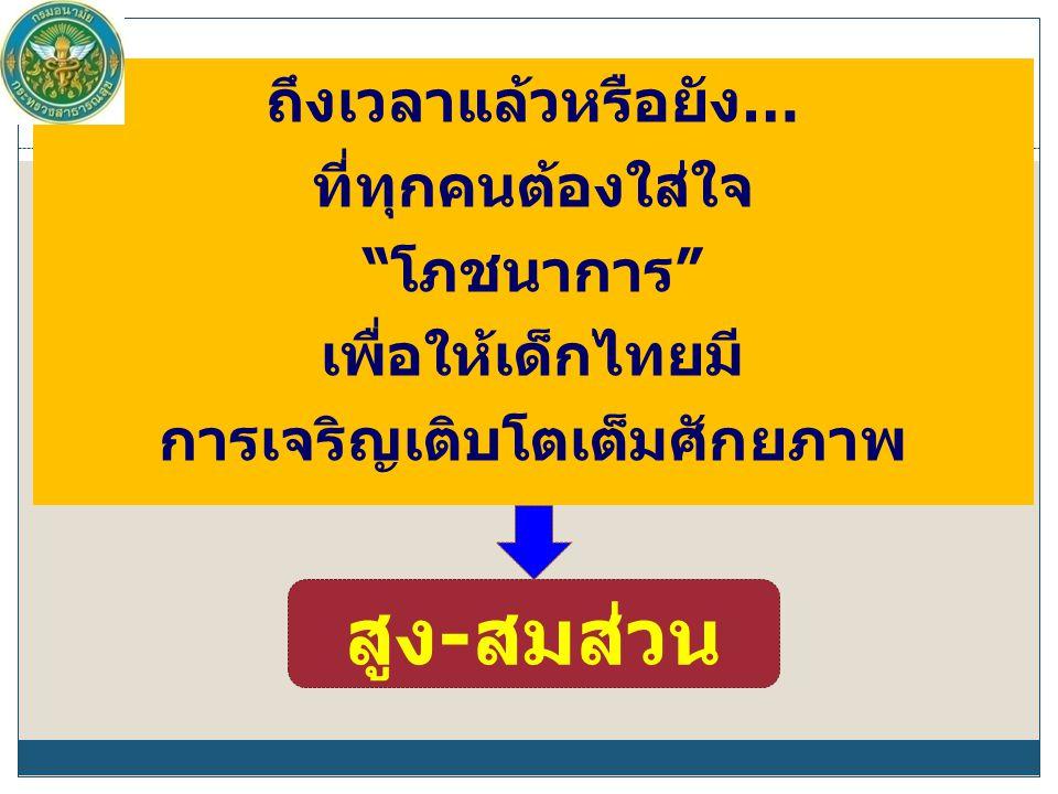 """ถึงเวลาแล้วหรือยัง… ที่ทุกคนต้องใส่ใจ """"โภชนาการ"""" เพื่อให้เด็กไทยมี การเจริญเติบโตเต็มศักยภาพ สูง-สมส่วน"""