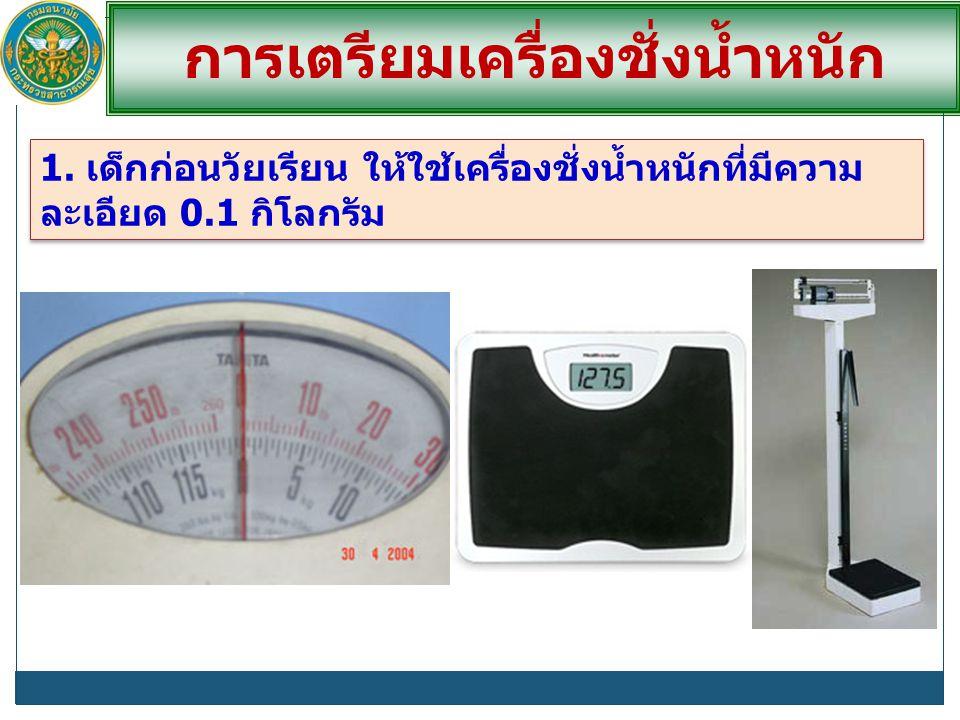 การเตรียมเครื่องชั่งน้ำหนัก 1. เด็กก่อนวัยเรียน ให้ใช้เครื่องชั่งน้ำหนักที่มีความ ละเอียด 0.1 กิโลกรัม